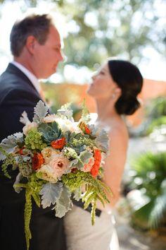 wedding bouquet | succulents, roses, hydrangeas, amaranths, dusty miller | Florist: The Moss & Rose  | orange peach green