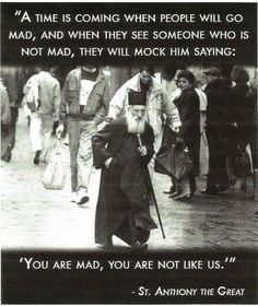 When the world goes mad! st Anthony the Great Wise Quotes, Quotable Quotes, Great Quotes, Quotes To Live By, Inspirational Quotes, Qoutes, Citations Sages, Anthony The Great, And So It Begins