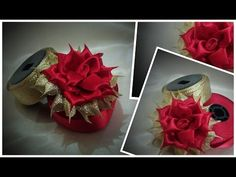 How to make folded ribbon flower / kanzashi flower ribbon rose tutorial / kanzashi flower - YouTube