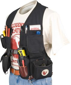 Compact vest tool carrying system, loaded with tool holders and pockets. Carpenter Tool Belt, Carpenter Tools, Woodworking Vest, Best Tool Belt, Occidental Leather, Work Belt, Cool Fabric, Tool Holders, Mens Fashion