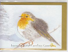 Robin Christmas Card Xmas Card Greeting Card Hand-painted