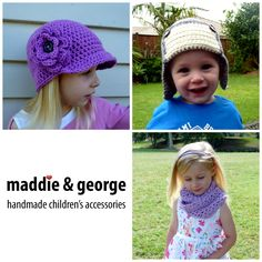 Maddie and George I create quality handmade children's accessories inspired by my own two children with a more classic twist.  This includes infinity scarves, cowls, head wraps, bunting, baby blankets, wrist warmers, slipper boots and a great variety of hats (size 1 to adult).  Custom orders are welcome so if you have something in mind please get in touch.  www.facebook.com/maddieandgeorge  maddieandgeorge@outlook.co.nz Wrist Warmers, Slipper Boots, Second Child, Cowls, Hat Sizes, Baby Blankets, Head Wraps, Bunting, Infinity