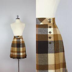 vintage 70s plaid wool skirt / plaid wool mini skirt / kick pleat skirt / Brown Betty skirt on Etsy, $42.00