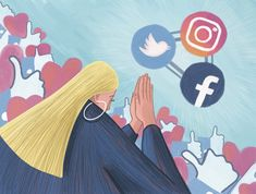 Praying to social networks. Published by Diario Sur. Art Director, Social Networks, Pray, Editorial, Illustration, Socialism, Illustrations, Social Media