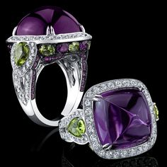 Robert Procop Exceptional Jewels- Amethyst and Peridot ring-  Peridot, used in Brooke Shields' Legacy Collection as both a center stone and an accent, has a fascinating history as one of the oldest known gemstones, and is described as having an elegant olive green hue. It displays the essence of lightness and beauty.