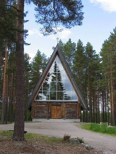 Paateri church (1991) in Lieksa, Finland. The church was build by sculptor Eva Ryynänen.