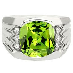 SVC-JEWELS 14k White Gold Plated 925 Sterling Silver Green Peridot Cluster Engagement Wedding Band Ring Mens