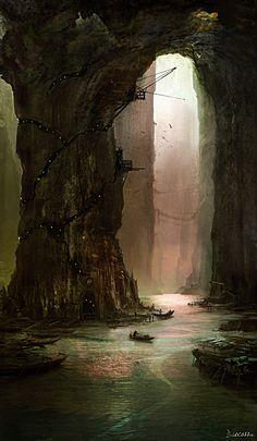 Explore the Fantasy Environment collection - the favourite images chosen by Kin-Kazma on DeviantArt. Fantasy City, Fantasy Places, Fantasy Kunst, Sci Fi Fantasy, Fantasy World, Dark Fantasy, Fantasy Concept Art, Fantasy Artwork, Fantasy Landscape