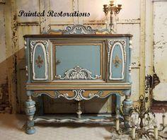 Ornate Vintage Cabinet in Persian Blue | General Finishes Design Center