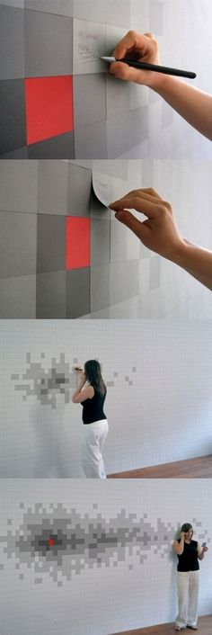 Cool sticky note pixel design wall - not sure what it's for but it looks fun! #Pixel #Grey #Design