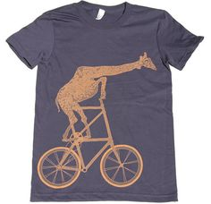 Ladies  Giraffe on a Two High Bike T Shirt by darkcycleclothing, $24.00