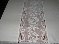 Agulha Mágica - Magic Needle: Toalha de Croché e linho - crochet table cloth and linen