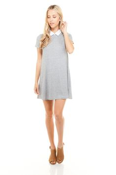 a365d519dce6 Women's Loose Fitted Collar T-shirt Dress