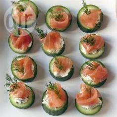 Cucumber smoked salmon bites @ allrecipes.co.uk