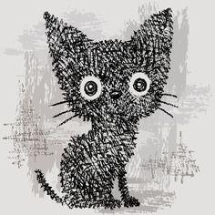 Drawing pencil and paintbrush-Cats by Toru Sanogawa, via Behance