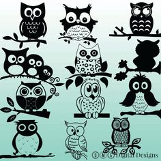 12 Owl Silhouette Clipart Images Digital by OMGDIGITALDESIGNS