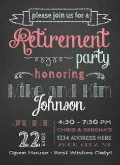 retirement party invitation via etsy
