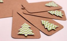 10 - Green Chevron Christmas Tree Kraft Gift Tags READY TO SHIP Holiday Gift Wrap Paper Goods Price Hang Craft Wrapping Paper Tags