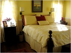 themes for the master bedroom may not be as easy as it looks.Because your master bedroom is not only a room you sleep in, it's a room you basically live in. Christmas Bedroom, Bedroom Pictures, New Room, Modern Interior Design, Color Themes, Master Bedroom, New Homes, Yellow Rooms, Valspar
