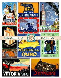 Travel Luggage Labels, Vintage Worldwide HOTEL Suitcase Stickers, Retro Printable Digital Collage Sheet, Instant Download Ephemera Clipart