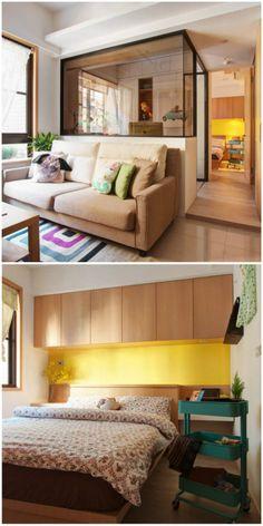09-apartamentos-pequenos-que-vao-te-surpreender Compact Living, Sofa, Couch, Small Spaces, Architecture, 30, Furniture, Design, Home Decor