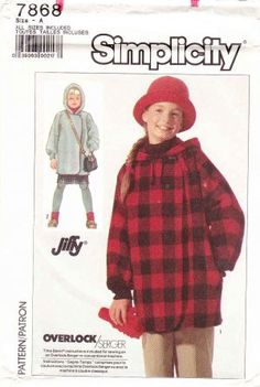 Simplicity Sewing Pattern 7868 Girls Size 2-12 Long Sleeve Hooded Unlined Jacket Coat  $9.99