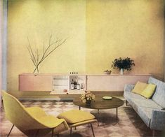 The #Saarinen Womb Chair in the Knoll Dallas Showroom,1956. #modernalways #yellow #midcentury