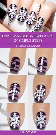 7 Best Tutorials on Snowflake Nails Designs ❤️ Drag Marble Snowflakes in Simple Steps ❤️ Snowflake nails are something you are bound to try out when winter comes. There is nothing more versatile and fun to pull off than snowflake nail art! https://naildesignsjournal.com/snowflake-nails-designs-tutorial/ #nails #nailart #naildesign #easynailart