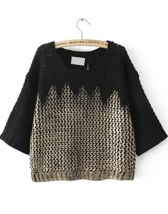 Black Round Neck Metallic Yoke Knit Sweater 32.67