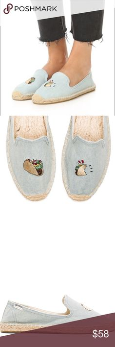 Tacos Soludos x Jason Polan smoking espadrilles New in box. Jason Polan for Soludos Tacos Smoking Espadrilles. RUNS SMALL- size 7 but fits a 6-6.5 women's. Perfect condition and super cute! Currently retailing for $75. Soludos Shoes