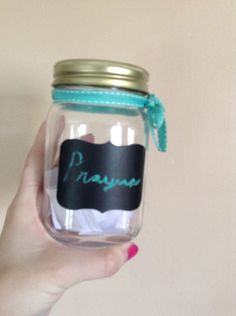 Cute prayer jar! Just write your requests and praises on little pieces of paper and place them in a mason jar. Draw a couple random ones out when your ready to pray! When your prayer is answered take it out out and put it somewhere.