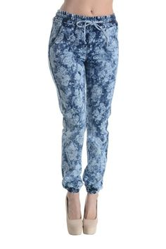 Women's Flower Print Jogger Pants RJJ309 - C9D
