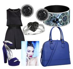 """Blues 2"" by tholliscole ❤ liked on Polyvore featuring Dasein, Maje, Prada, LE VIAN and Ice"