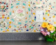 Custom Mosaic Kitchen Backsplash - Broken China/Vintage Dish Mosaic on Etsy Kitchen Mosaic, Mosaic Backsplash, Kitchen Backsplash, Mosaic Tiles, Backsplash Ideas, Countertop, Mosaic Diy, Mosaic Crafts, Mosaic Glass