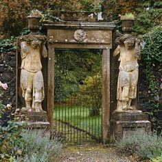 gate flanked by a pair of statues - charleton house, scotland - photo fritz von der schulenburg Old Garden Gates, Garden Entrance, Entrance Gates, Garden Doors, House Entrance, Dream Garden, Garden Art, Garden Design, Garden Types