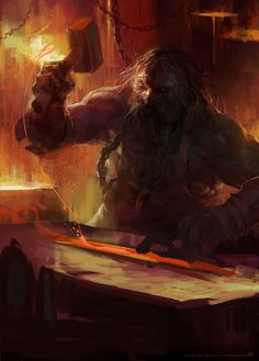 Blacksmith by Björn Hurri Fantasy Dwarf, Fantasy Rpg, Medieval Fantasy, Fantasy Artwork, Fantasy World, Dark Fantasy, Character Portraits, Character Art, Character Concept