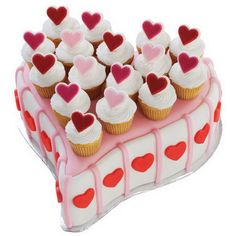 Valentine standard heart cake with mini cupcakes. Wilton Cakes, Cupcake Cakes, Mini Cupcakes, Cupcake Tray, Cupcake Ideas, Food Cakes, Mothers Day Cupcakes, Valentines Day Cakes, Cupcake