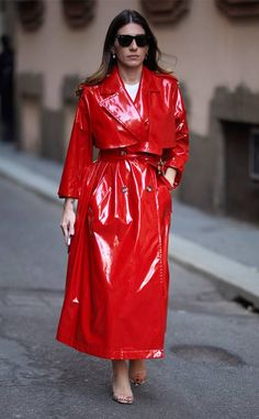 Suited Up from The Best Street Style From Fashion Week Fall 2019 Cool Street Fashion, Street Style, Pvc Raincoat, Rain Wear, Harpers Bazaar, Celebrity Gossip, Leather Jacket, Celebs, Good Things