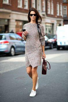 Gray Knit Dress 2017 Street Style