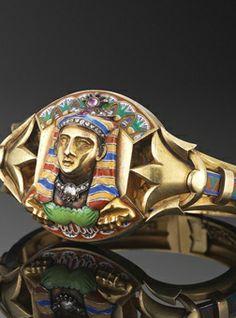 Egyptian Revival Jeweled Enamel Pharoah Bangle, circa 1860. #AntiqueJewelry #AntiqueBangle