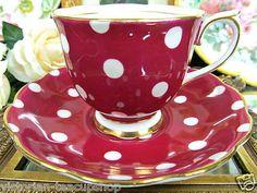 Royal Albert Red and white polka dot tea cup & saucer set ~ LOVE THIS!