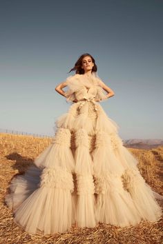 Green Wedding Shoes reports on Fall NY Bridal Fashion Week 2020 with the trendiest wedding dress styles for like this Zuhair Murad Ruffle Wedding Dress Source by gws dress couture Wedding Dress Trends, Princess Wedding Dresses, Tulle Wedding, Wedding Dress Styles, Bridal Dresses, Wedding Gowns, Wedding App, Wedding Week, Wedding Mandap