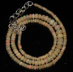 "40 Crts 1 Necklace 3to6mm 16"" Beads Natural Ethiopian Welo Fire  Opal  64876"