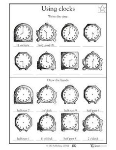 grade math worksheets slide show - Worksheets and Activities - What time is… First Grade Math Worksheets, School Worksheets, 1st Grade Math, Clock Worksheets, Fun Worksheets, Math For Kids, Fun Math, Maths, Math Resources