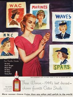 #VintageAd #WWII Cutex 1944  Rosie the Riveter Goes to War