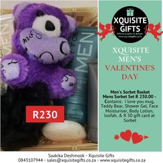 Men's Valentine's Day Gift.  Give him a Sorbet Care basket.  Includes a R50 voucher.  Our whatsapp number 0843107944 and email address sales@xquisitegifts.co.za  #valentinesday2019 #gifts  #valentinesdaygiftsforhim #valentinesday #xquisitegifts #xquisitevalentinesday Valentines Day For Men, Sorbet, Email Address, Body Lotion, Basket, Teddy Bear, Number, Teddy Bears, Moisturizer