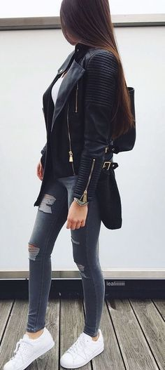 fall casual outfit / moto jacket + top + bag + skinny jeans + sneakers