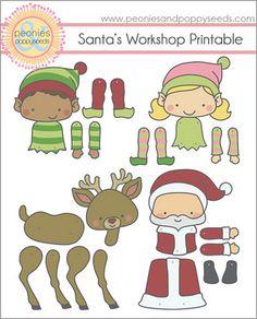 santa's workshop paper dolls #free #printable #christmas #holidays #kids #diy #crafts
