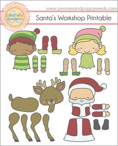 Santa's Workshop printable dolls