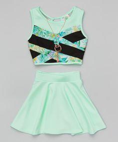 Mint Floral Color Block Crop Top Set - Girls